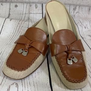 Ariete Brown & Cream Cloth & Leather Slides Mules